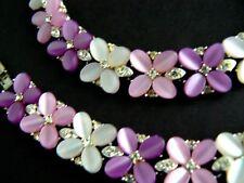 Vintage Lisner Necklace Bracelet Set Two Tone Lavender Thermoset & Rhinestones