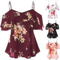 Womens Floral Print Off-Shoulder Tops Summer Beach Tank Tops Vest Blouses Shirts