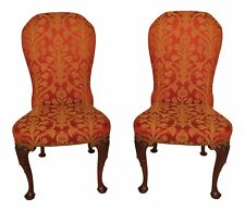 30502EC: Pair KINDEL #84-074 Upholstered Side Chairs w.  Carved Mahogany