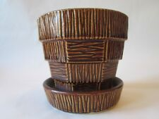 FLOWER POT PLANTER! Vintage MCCOY ART pottery BARK & BLOCK pattern unusual BROWN