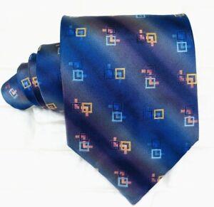 Luxus krawatte blau geometrisch Italie silk breit Geschenkidee business hochzeit