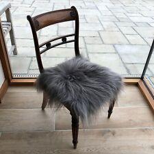 100% Genuine Real Icelandic Sheepskin Seat Pad Square 37cm Cool Grey UK Seller