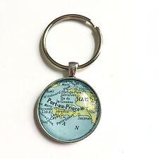 PART-AU-PRINCE HAITI PORT AU PRINCE Map Key Ring Keychain Silver vntg ATLAS