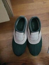 WOMEN'S LL BEAN Storm Chaser Ankle Duck Shoes Boots green Slip On SIZE 9 1/2