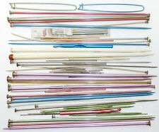 vtg Lot of 63 Assorted Estate Knitting Needles Crochet Hooks Tatting Tools Mixed