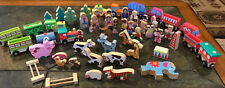 56 Pieces Lot of Wood Wooden People Vehicles Animals Circus Farm Zoo Janod EUC