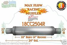 "Max Flow Muffler 18"" Round Body 2 1/2"" 2.5"" Pipe Center/Center 24"" OAL 18CC2504R"