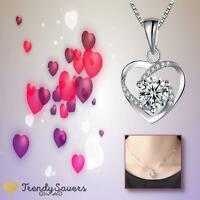 925 Sterling Plated White Purple  Shiny Cubic Zirconia Heart Love Necklace