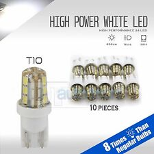 10X High Power 628LM 6000K White T10 921 Interior/License Plate SMD Light Bulbs