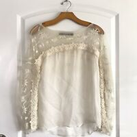Zara Woman Blouse Size Small Ivory Sheer Layer Long Sleeve Embelished Top