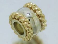 Bd057 Genuine 9ct Solid Yellow White Two-Tone Heavy Gold Rope Bead for engraving