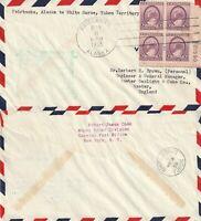 US 1938 FIRST FLIGHT AIR MAIL FLOWN COVER FAIRBANKS ALASKA TO WHITE HORSE YUKON