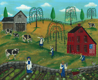 OrIgInAl FoLk ART PaInTiNg AppLeS CoWs FaRmErS BaRn WiLLoW TrEE FrEE ShiPPiNg