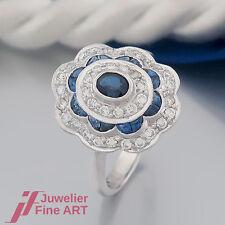 Ring - mit Saphir(Safir)& Brillanten (Diamant) ges. ca. 0,36ct -750/18K Weißgold