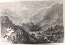 Le Dora Valley, Mont Cenis CHEMIN DE FER, antique print 1871, original