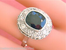 VINTAGE 4.4ct VERY DARK SAPPHIRE .90ctw DIAMOND LADY DI COCKTAIL RING 1930 sz12!