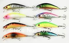 A0278 SET 8 PZ ARTIFICIALE SPINNING MINNOW 7 CM 8 GR 3D EYES BLACK BASS TROUT