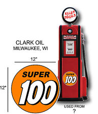 """12"""" 1940-60 SUPER 100 GASOLINE DECAL FOR OIL CAN / GAS PUMP / LUBSTER"""