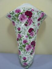 Tenderheart Treasures Pink & Crimson Red Rose Floral Chintz Wall Pocket NEW