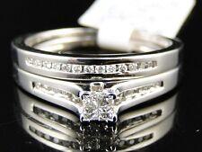 White Gold Ladies Princess Cut Diamond Engagement Wedding Bridal Ring Set 1/3 Ct