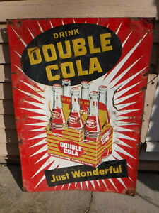 VINTAGE 1940'S RARE DRINK DOUBLE COLA SIGN MADE IN USA L@@K