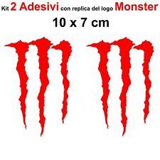 Kit 2 Adesivi Monster Graffio Moto Stickers Adesivo 7 x 10 cm decalcomania ROSSO