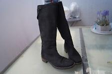 PAUL GREEN Damen Schuhe Stiefel Biker Boots Gr.6 / 39 Nubuk Leder schwarz TOP