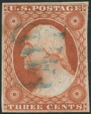 #10  3c O.B. 1851, 4 MARGIN. SON BLUE DOUBLE STRIKE PAID FANCY CANCEL. ap14 249