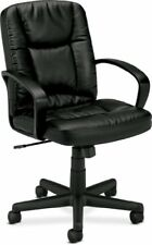 Basyx By Hon Vl171 Mid Back Loop Arm Management Chair Leather Black Seat