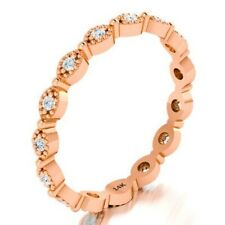 14K Solid Rose Gold Wedding Ring Thin Round Stacking Art Deco Eternity Band