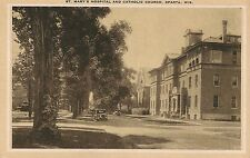 St. Mary's Hospital and Catholic Church in Sparta WI Postcard
