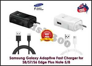 Genuine Samsung Galaxy Fast Wall Charger Adapter USB C S8 S9 S10 S20 / Note 8 9