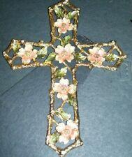 Beautiful Fitz and Floyd Gold Cross w/Dogwood Flowers &  Rhinestones Religious