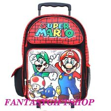 "Super Mario Luigi Dream Team 16"" inches Rolling Backpack BRAND NEW - Licensed"