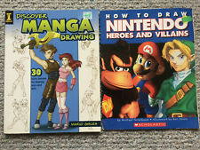 Lot 2 How to Draw Books NINTENDO Heroes and Villains & DISCOVER MANGA DRAWING