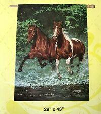 Galloping Horses Cascade Run Large 29 x 43 Horse Barn Flag Evergreen 2 Sided