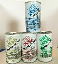Seven Springs Bottom Opened Beer Cans - Lot of 4