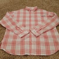 EUC Columbia PFG Men's Pink White Fishing Activewear Casual Button Down Large