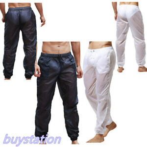 Men's Ultra-Thin Summer Swim Loose Fit Trousers Beachwear Trunks Gym Long Pants