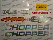 RALEIGH CHOPPER MK2 DECAL SET, PRISMATIC SILVER & FLAMING EXHAUST