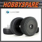 SET OF 4 THUNDER TIGER 1/8 RC BUGGY OFFROAD TYRE & WHEEL BLACK DISC PD7748