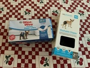 New Set of 2 XS Sophresh So Phresh Washable Dog Puppy Diapers + Wee-Wee Liners