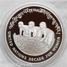 1984 Bhutan decennio della donna in argento PROOF 100 ngultrum MEDAGLIA-RARA