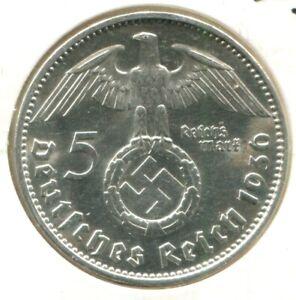 3. REICH 5 REICHSMARK SILBER HINDENBURG HK 1936 - J - TOP ERHALTUNG STEMPELGLANZ