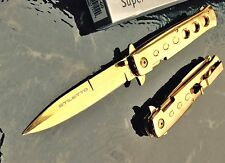 "9"" TAC FORCE Super Knife Gold Godfather Stiletto Spring Assisted Opening Pocket"