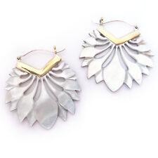 Carved Grey Shell Lotus Earrings .925 Sterling Silver Hook Boho Gypsy Jewelry