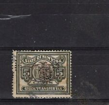 State of New York 5c Stock Transfer Perfin 1930's  USED **