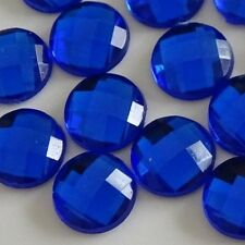 100pcs 8mm Non-Hotfix *DARK BLUE* Crystal Gems Mesh-Face Rhinestones DIY Glue-on