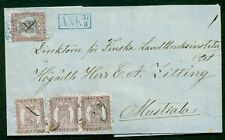 Finland 1871, 5p (x4) all tied Abo to Mustiala w/blue Ank arrival mark