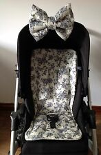 VINTAGE FLORAL  PRAM LINER PADDED HOOD BOW HARNESS COVERS BUGGY ROSES CREAM GREY